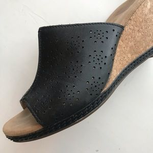 Clark's Slip on Shoes cork heel Wedges
